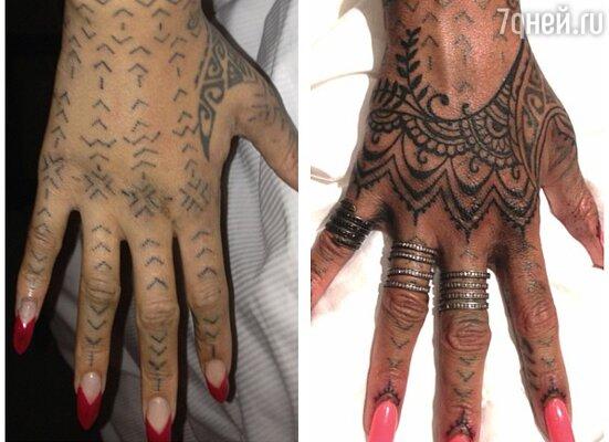 Рианна просидела в кресле около четырех часов, прежде чем на ее руке появился новый вариант татуировки