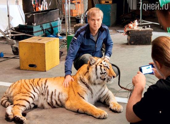 Сергей с партнершей — тигрицей Адой из Цирка на Цветном бульваре