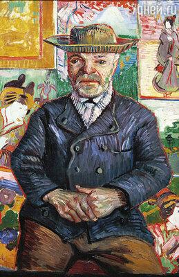 Полутемную лавочку Жюльена Танги нельзя назвать галереей — он торговал холстами и красками. Но у него был открыт неограниченный кредит Винсенту и его друзьям. Фото репродукции картины Ван Гога «Папаша Танги», 1887 г.