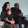 Ким Кардашьян и Канье Уэст с дочкой Норс