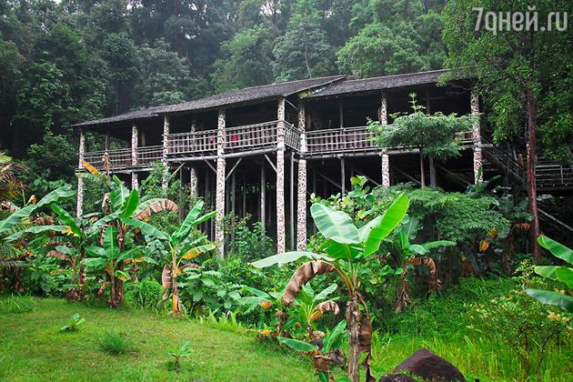 Остров Борнео, дома даяков