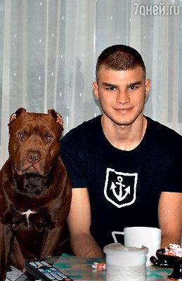 Cын Михаила Пореченкова Владимир с любимой собакой