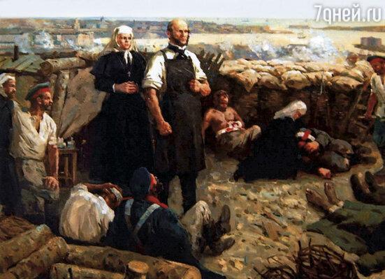 Отправившись на Кавказскую, а затем Крымскую войну, Пирогов в полевых условиях испытывал свое изобретение — эфирный наркоз. До этого все операции делались без анестезии. Картина работы А.Сидорова «Война — это травматическая эпидемия»