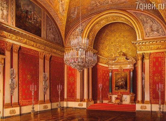 Фото репродукции акварели «Виды залов Зимнего дворца. Петровский зал» работы Э. Гау