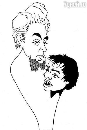 Автошарж Аркадия Райкина на себя и сына Константина Райкина
