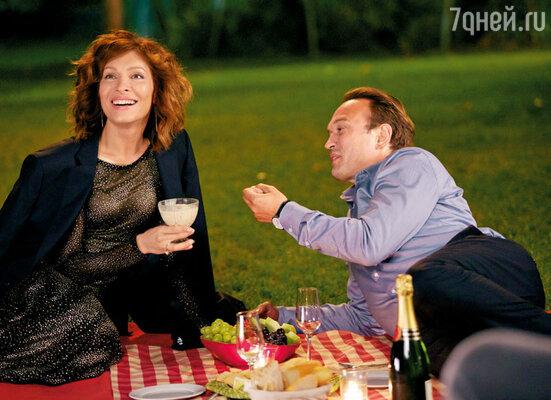 С Венсаном на съемках фильма «Кухня в Париже»