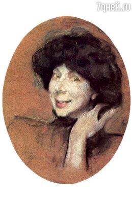 Атя Кинд была музыкальная, начитанная... Но эти чертики, пляшущие в ее глазах... Фото репродукции портрета кисти В. Серова, 1908 г.