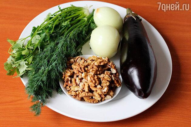 Ингредиенты для рулетиков из баклажанов с орехами