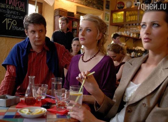 Ольга Медынич, Анна Антонова и Александр Макогон на съемках сериала «Женская лига»