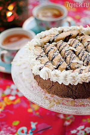 Новогодний торт «Снегурочка» с печеньем и шоколадом