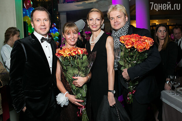 Евгений Миронов, Наталия Шагинян, Илзе  и Андрис Лиепа на юбилее благотворительного фонда «Артист»