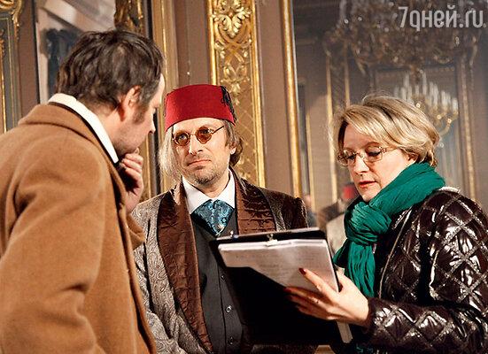 Даниил Спиваковский и Дмитрий Нагиев обсуждают сцену с режиссером Эллой Архангельской