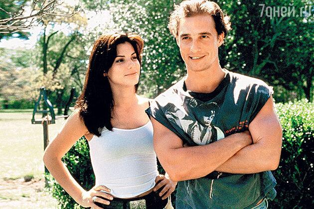 Сандра Буллок с бывшим возлюбленным Мэттью Макконохи в фильме «Время убивать». 1996 г.