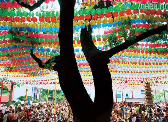 В день рождения Будды проводится и парад лотосовых фонарей