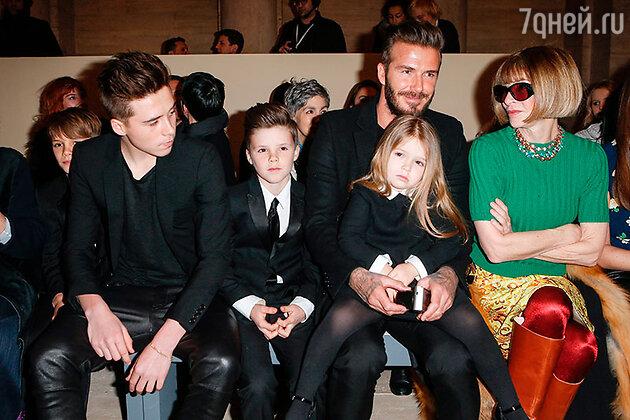 Дэвид Бэкхем с детьми и Анна Винтур