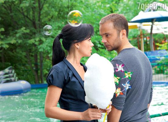 Анастасия Заворотнюк и Андрей Чадов на съемках фильма «Провокатор»