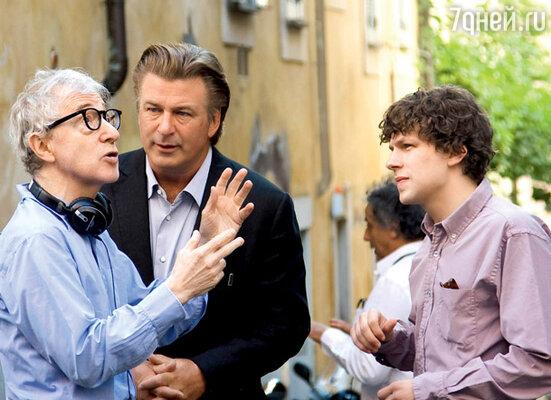 С Вуди Алленом и Алеком Болдуином на съемках нового фильма с рабочим названием «Декамерон в стиле боп»
