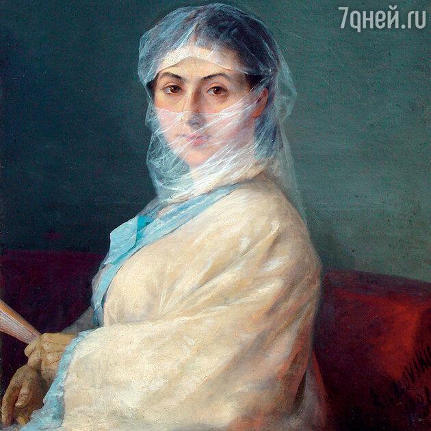 Фото репродукции портрета Анны Никитичны Айвазовской работы И.К. Айвазовского, 1882 г.