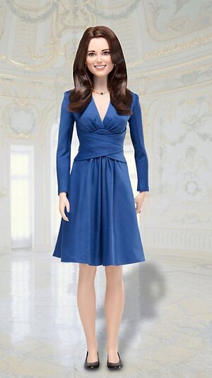 Кукла Кейт Миддлтон в синем платье Issa
