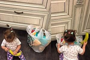 Дочка Ксении Бородиной разбирает покупки