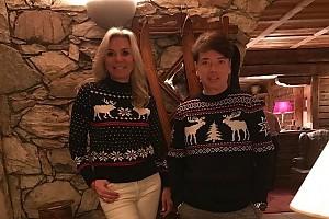 Валентин Юдашкин с женой в ультрамодных свитерах с оленями